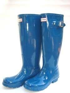 NEW HUNTER RAIN BOOT original tall High gloss TEAL/BLUE women SIZE 7