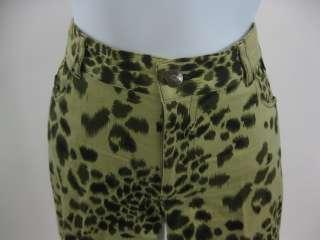 NICOLE MILLER Green Leopard Print Skinny Leg Pants Sz 2