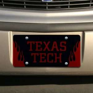 Texas Tech Red Raiders Black Mirrored Flame License Plate Automotive