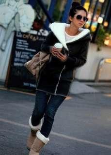 DKD14 New Korea Fashion Lady Hoodie Warm Zip Up Fleece Long Sweatshirt
