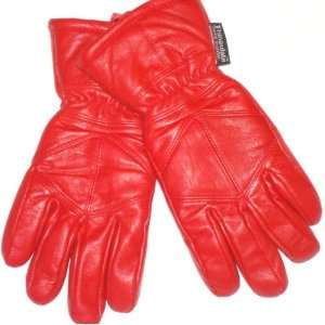 Imported Genuine Red Leather Microfiber Lined Ladies Gloves, Large
