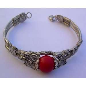 Bracelet   Tibetan Silver & Red Coral Bead   Kikis Coral