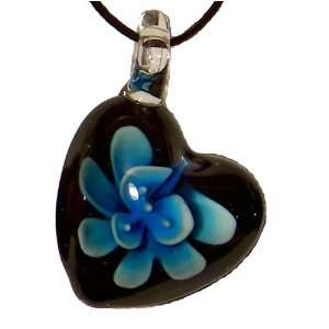 Light Blue Inlaid Heart Glass Pendant
