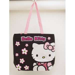 Sanrio Hello Kitty Shopping Tote Bag in Black   Size Approximately 13