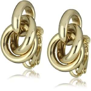 Anne Klein Gold Tone Knot Clip Earrings Jewelry