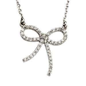 1/4 CT TW 14K White Gold Diamond Bow Necklace Jewelry