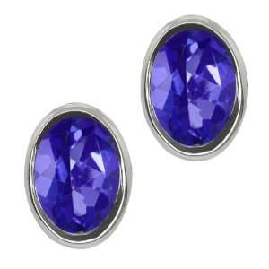 Oval Shape Tanzanite Blue Mystic Topaz Sterling Silver Stud Earrings