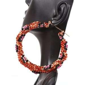 Orange Pink and Black 3 Inch Bamboo Hoop Earrings POParazzi Jewelry