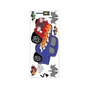 Fast and Fun Checkered Race Car Jumbo Wall Stickers