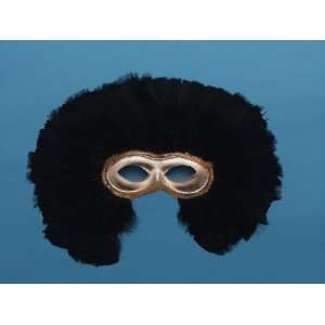 Masquerade Ball Gold Feathered Half Mask Costume Toys & Games