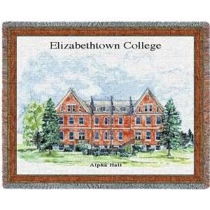 Elizabethtown College Alpha Hall Jacquard Woven Throw   70 x 54