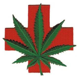 Novelty Iron on   Weed Medical Red Cross Marijuana Pot Leaf Patch