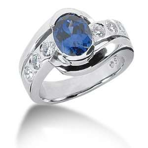 Sapphire Ring Engagement Oval cut 14k White Gold DALES Jewelry