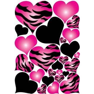 Hot Pink White Leopard Print Flower Wall Stickers ,Decal