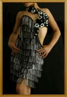 Custom White BLACK SAMBA FRINGE salsa latin dance dress