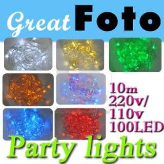 New 100 Led 10M Flash lights string multi color for Chrismas & Party