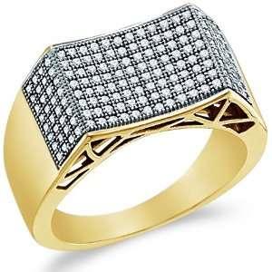 Pave Set Round Cut Mens Diamond Wedding Ring Band (1/2 cttw) Jewelry