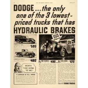 1935 Ad Dodge Trucks Chrysler Motors Commercial Panel