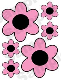 LADYBUG PINK BLACK FLORAL WALL BORDER STICKERS DECALS 2