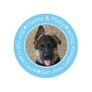 Cute Paw Prints Blue Pet Photo Sticker Round Sticker
