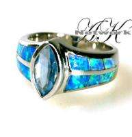 925 SILVER SIMULATED OPAL BLUE TOPAZ COLOR RING NEW S 6