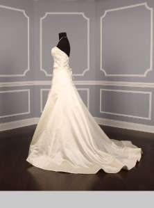AUTHENTIC Reem Acra 3630 Mysterious Lt Ivory Silk Satin Couture Bridal