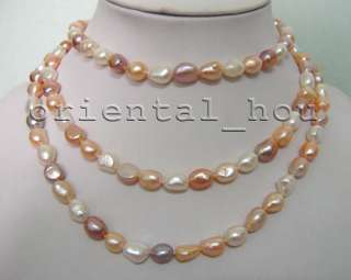 Long 48inch Natural White Pink Purple 8 10mm Freshwater Pearl Jewelry