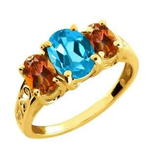 Ct Oval Swiss Blue Topaz and Ecstasy Mystic Topaz 14k Yellow Gold Ring