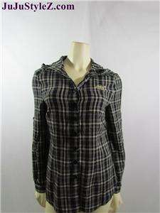 Seven7 Womens Plaid Long Sleeve Button Shirt Hooded Top sz S M L NWT