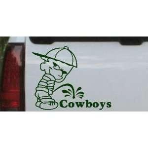 Pee On Cowboys Car Window Wall Laptop Decal Sticker    DarkGreen 6in X