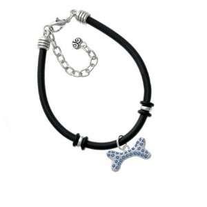 Large Blue Swarovski Crystal Dog Bone Silver Plated Black Rubber Charm