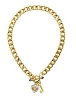 Auth Juicy Couture Pave Gold Heart Starter Bracelet / Necklace / Stud