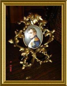 ANTIQUE 24k GOLD GILT FRAME NAPOLEON BONAPARTE PORCELAIN MINIATURE