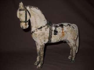 Antique Primitive Painted Wooden Horse 9X9 Shabby Folk Art Figure