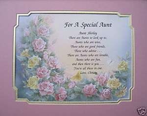 FOR A SPECIAL AUNT PERSONALIZED POEM GIFT PINK ROSES
