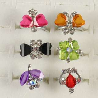 wholesale lots 30pc silver plated crystal children ring