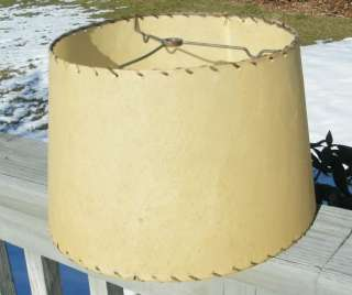 VINTAGE ANTIQUE LEATHER LACED FIBERGLASS LAMP SHADE