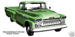 1958 CHEVROLET ~ APACHE PICKUP TRUCK (GREEN) ~ MAGNET