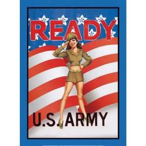 US Army Ready Soldier Sexy Girl Retro Vintage Tin Sign: Home & Kitchen