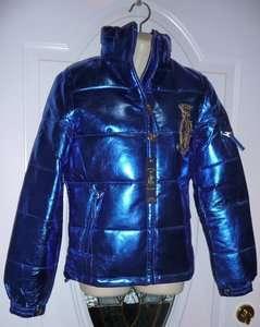 399 S LEATHER CHRISTIAN AUDIGIER Ed Hardy Womens Puffer Blue Metallic