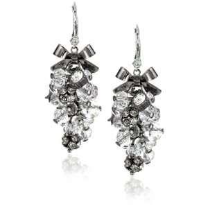 Betsey Johnson Iconic Crystal Cluster Shake Drop Earrings
