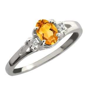 0.44 Ct Yellow Oval Citrine and White Topaz Sterling