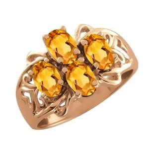 1.60 Ct Oval Yellow Citrine 14k Rose Gold Ring Jewelry