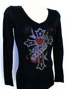 RHINESTONE FAITH CROSS TATTOO SHEER JUNIOR V NECK SHIRT NEW TOP S M L
