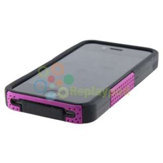 Hybrid Purple Mesh Hard/Silicone Soft Case Cover+PRIVACY FILTER for