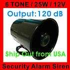 12V 25W 6 Tone Loud Car Van Truck Security Alarm Siren