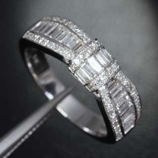 Unique Knot Baguette/Round 1.27ct DIAMOND 14K White GOLD Engagement