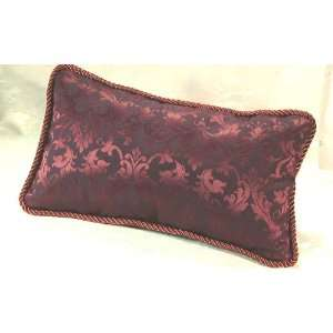 Executive Lumbar Pillow in a Burgundy Damask Fabric