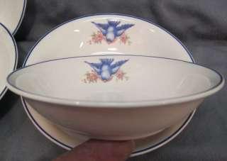 VTG 20s BLUEBIRD CHINA DINNERWARE~BERRY~FRUIT~DESSERT 5 ¼ BOWLS~4