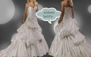 New Strapless Taffeta Beiges A Line Watteau Fold Applique Wedding